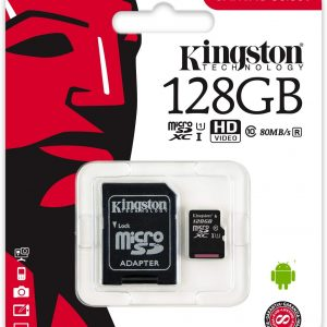 Amazon: Memoria Micro SD Kingston 128 GB Clase 10 $342