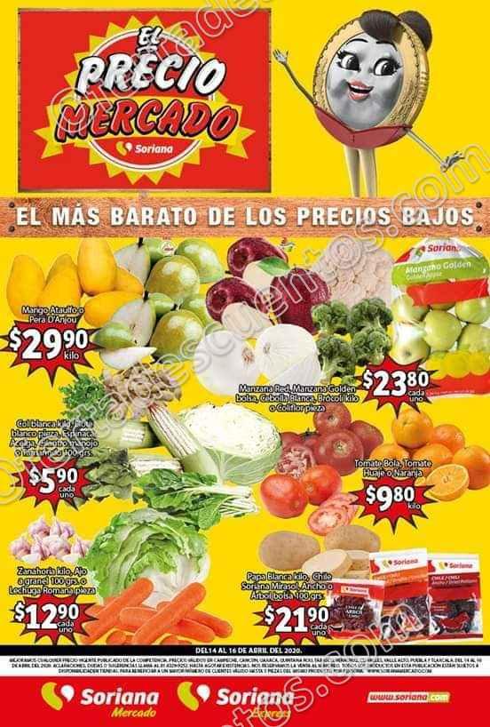 Soriana Mercado: Ofertas Frutas y Verduras del 14 al 16 de Abril 2020