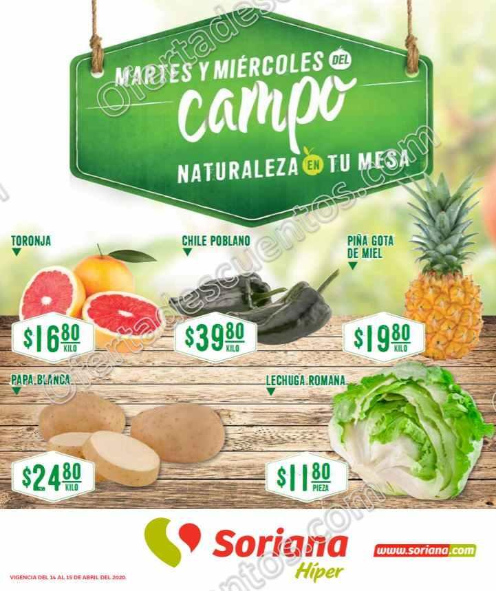 Soriana: Ofertas Frutas y Verduras Martes y Miércoles del Campo 14 y 15 de Abril 2020