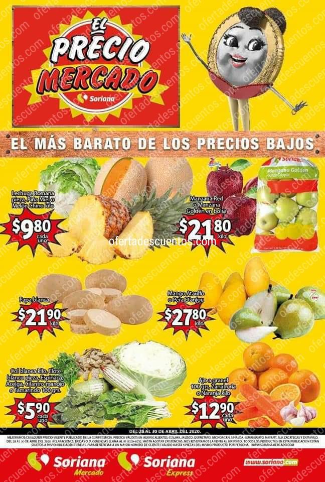Soriana Mercado: Ofertas Frutas y Verduras del 28 al 30 de Abril 2020