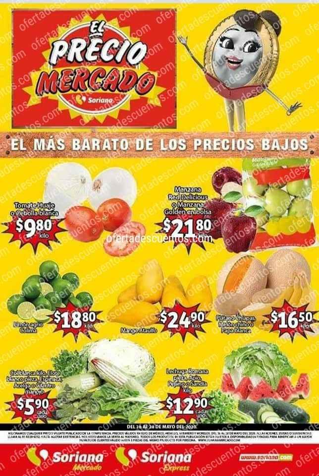 Soriana Mercado: Ofertas en Frutas y Verduras del 26 al 28 de Mayo 2020