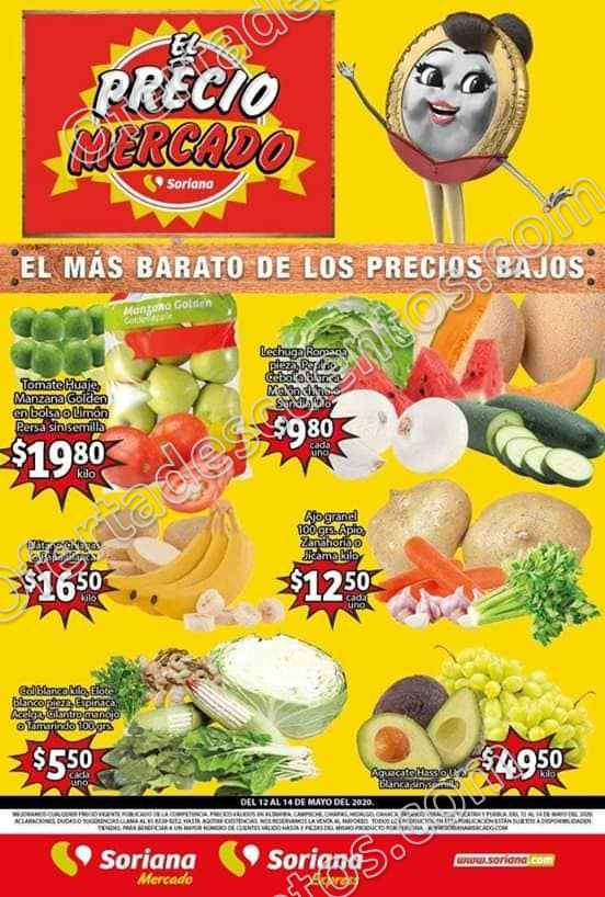 Soriana Mercado: Ofertas Frutas y Verduras del 12 al 14 de Mayo 2020