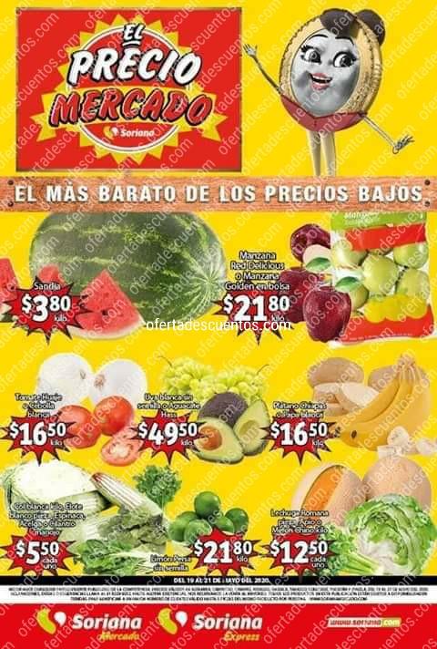 Soriana Mercado: Ofertas Frutas y Verduras del 19 al 21 de Mayo 2020