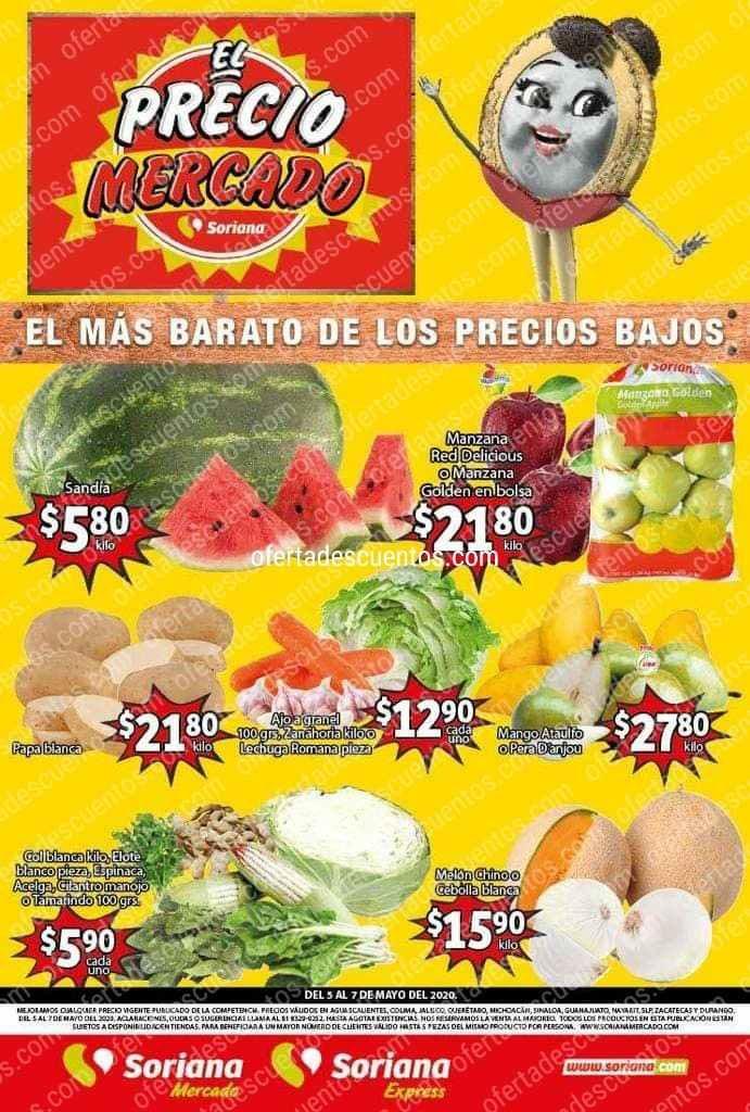 Soriana Mercado: Ofertas Frutas y Verduras del 5 al 7 de Mayo 2020