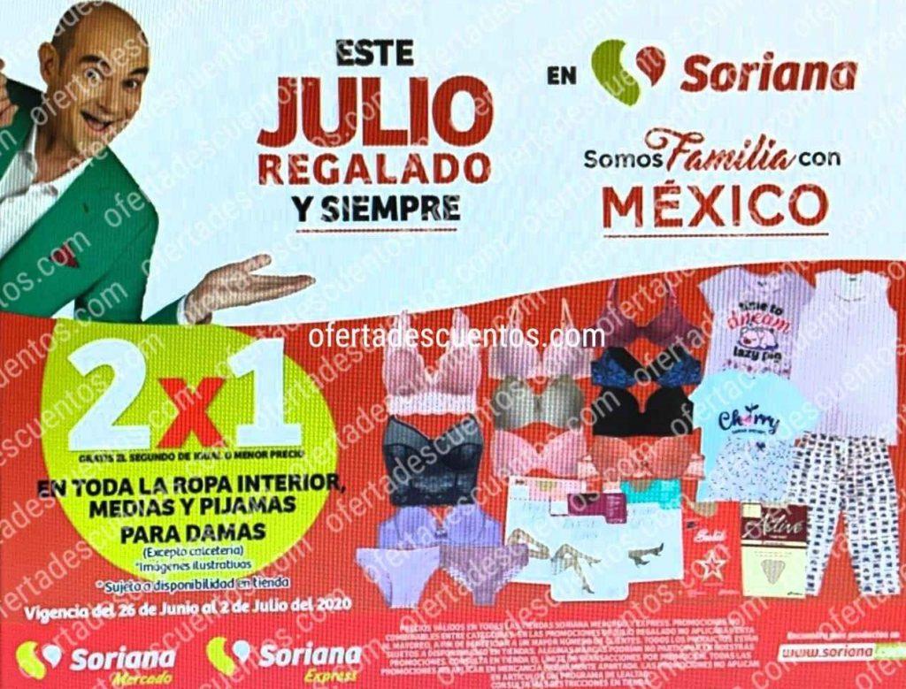 Julio Regalado 2020 Soriana: 2×1 en Ropa Interior, Medias y Pijamas para Dama