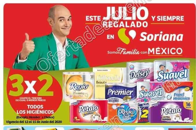 Julio Regalado 2020 Soriana: 3×2 en Papel Higiénico