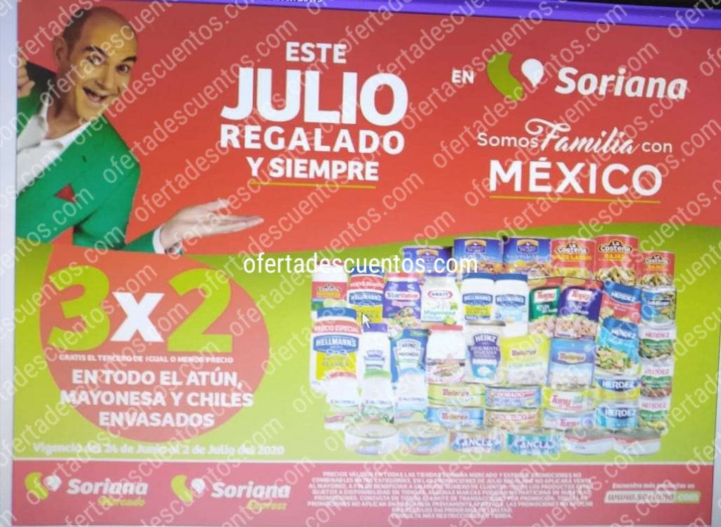 Julio Regalado 2020 Soriana: 3×2 en Mayonesa, Atún y Chiles Enlatados