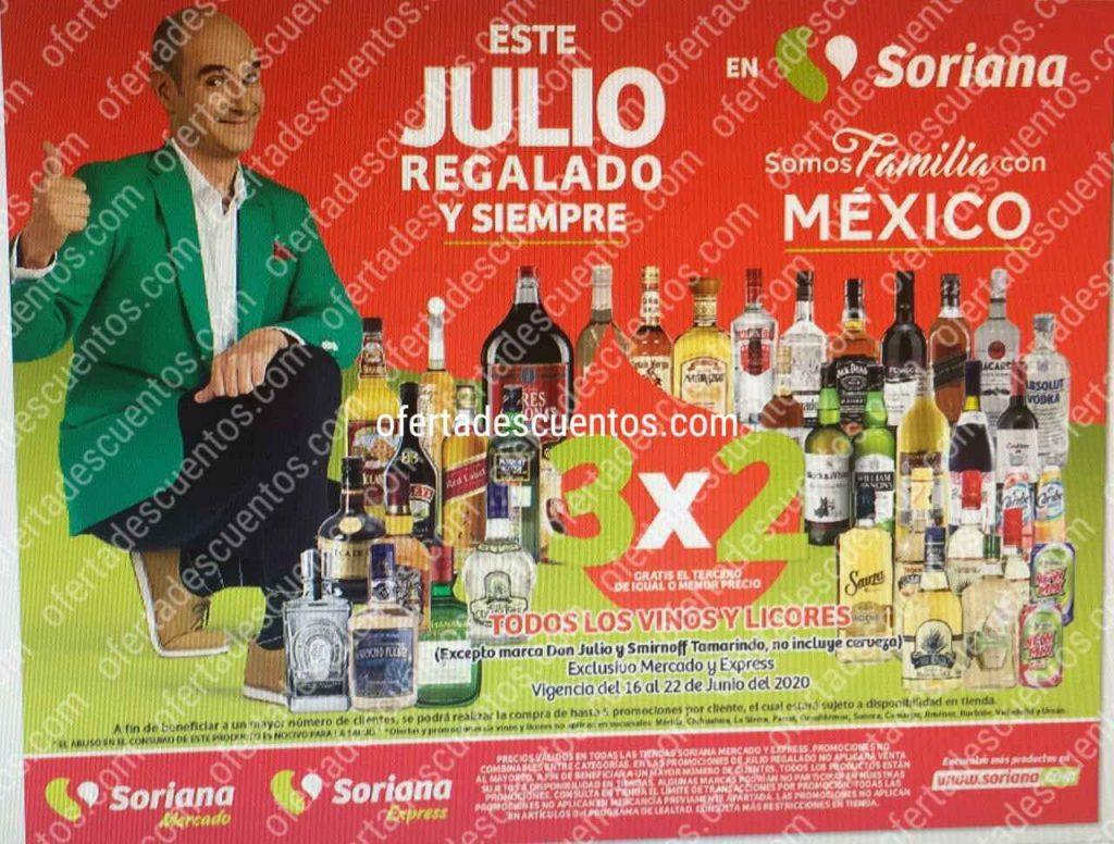 Julio Regalado 2020 Soriana: 3×2 en Vinos y Licores