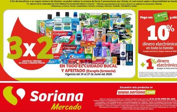 Julio Regalado 2020 En Soriana: 3×2 en Todo Higiene Bucal y Afeitado