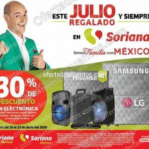 Julio Regalado 2020 Soriana: 30% de descuento en electrónica