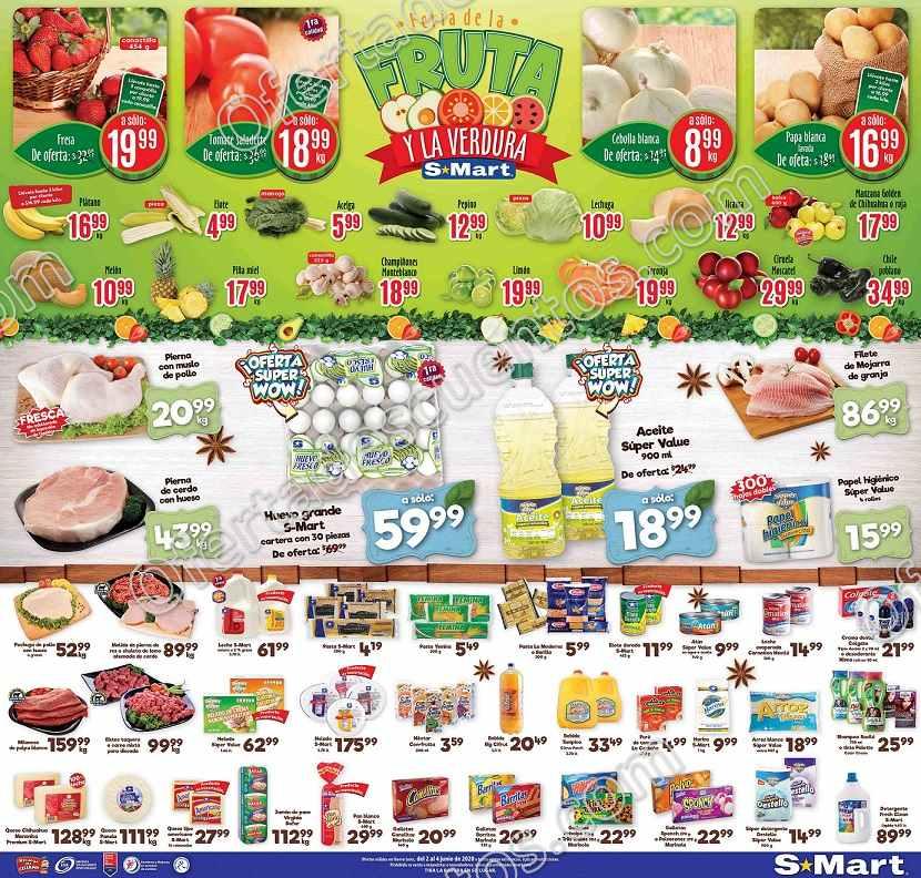 S-Mart: Ofertas Frutas y Verduras del 2 al 4 de Junio 2020