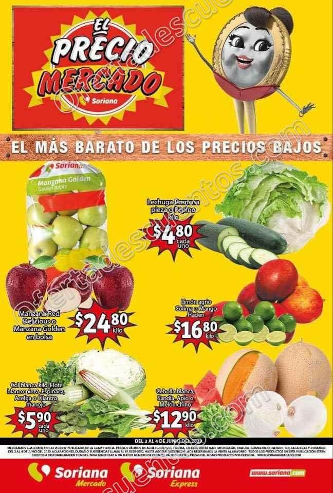 Soriana Mercado: Ofertas Frutas y Verduras del 2 al 4 de Junio 2020