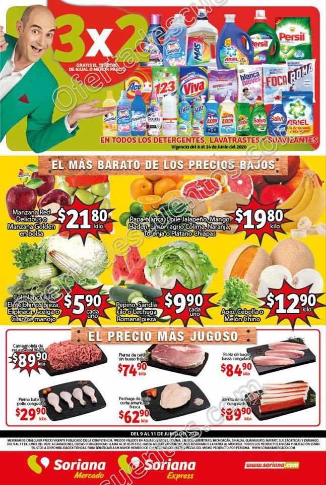 Soriana Mercado: Ofertas Frutas y Verduras del 9 al 11 de Junio 2020