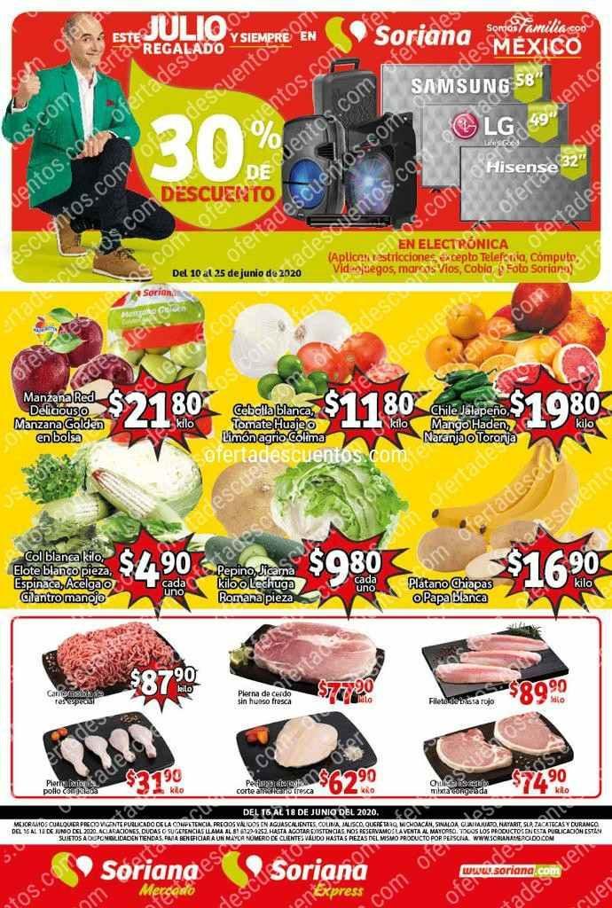 Soriana Mercado: Ofertas en Frutas y Verduras del 16 al 18 de Junio 2020