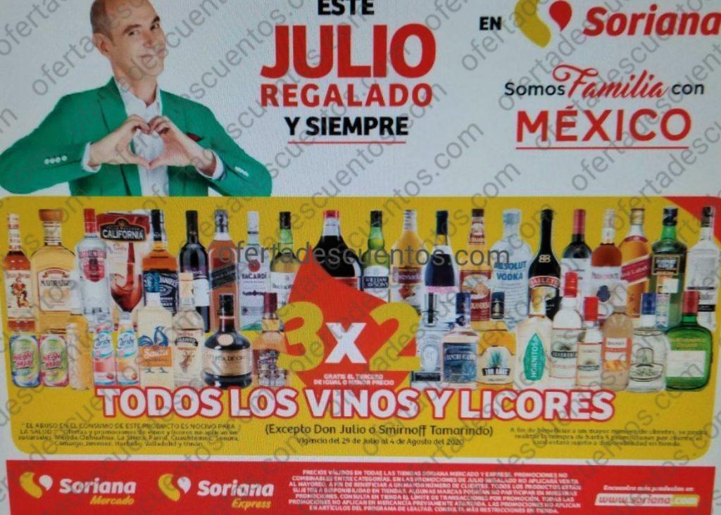 Julio Regalado 2020 Soriana: 3×2 en Vinos y Licores del 29 de Julio al 4 de Agosto