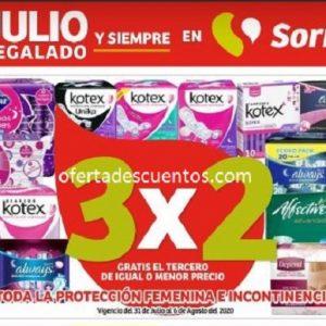 Julio Regalado 2020 Soriana: 3×2 en Toda la Protección Femenina e Incontinencia