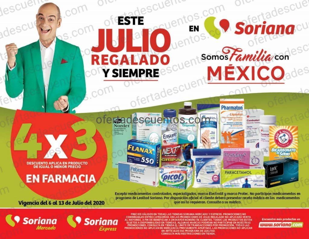 Julio Regalado 2020 Soriana: 4×3 en Farmacia
