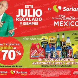Julio Regalado 2020 Soriana: 70% de Descuento en Segundo Producto en Aceites, Anticongelantes y Aditivos