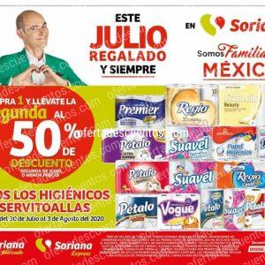 Julio Regalado 2020 Soriana: 50% de Descuento en Segundo Artículo en Papel Higiénico y Servitoallas