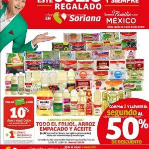 Julio Regalado 2020 Soriana: Todo el Frijol, Arroz Empacado y Aceite con 50% de Descuento en Segundo Artículo