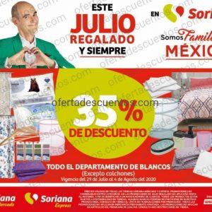 Julio Regalado 2020 Soriana: 35% de Descuento en Departamento de Blancos más Meses Sin Intereses