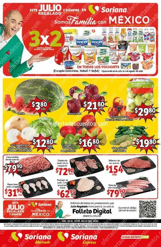 Soriana Mercado: Ofertas Frutas y Verduras del 28 al 30 de Julio 2020