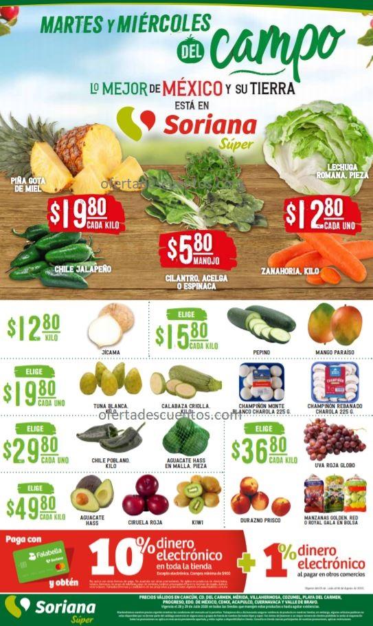 Soriana Super: Ofertas Frutas y Verduras 28 y 29 de Julio 2020