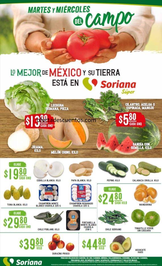 Soriana Super: Ofertas en Frutas y Verduras 1 y 2 de Septiembre 2020