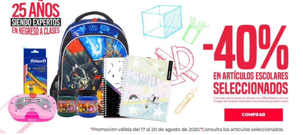 Office Depot: 40% de Descuento en Artículos de Escolares del 17 al 20 de Agosto 2020
