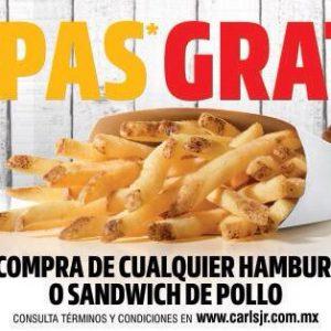 Promoción Día de las Papas Fritas Carls Jr México: Papas GRATIS al comprar Hamburguesa o Sándiwch