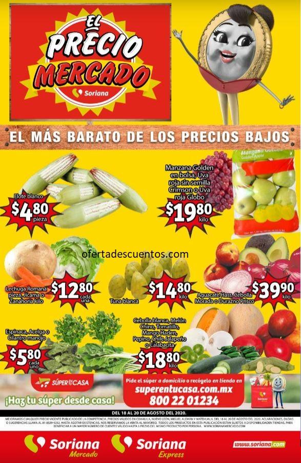 Soriana Mercado: Ofertas en Frutas y Verduras del 18 al 20 de Agosto 2020