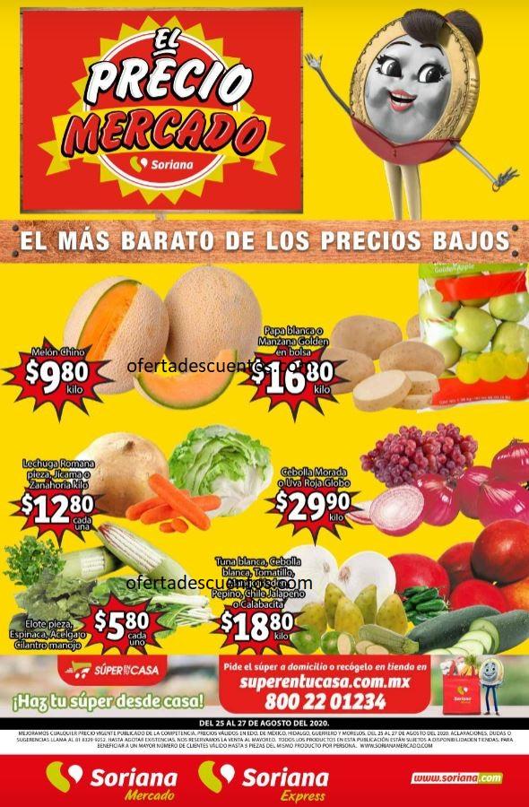 Soriana Mercado: Ofertas en Frutas y Verduras del 25 al 27 de Agosto 2020
