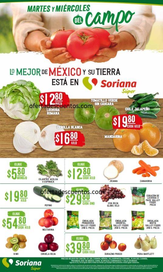Soriana Super: Folleto Ofertas Frutas y Verduras 25 y 26 de Agosto 2020