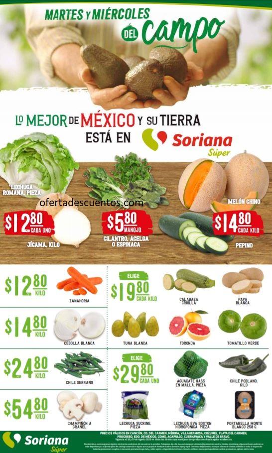 Soriana Super: Ofertas en Frutas y Verduras 18 y 19 de Agosto 2020