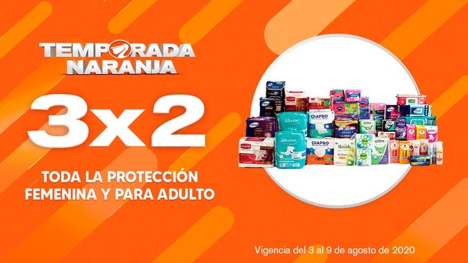Temporada Naranja 2020 La Comer: 3×2 en Protección Femenina e Incontinencia