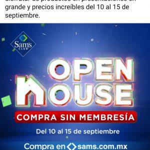Open House Sams Club del 10 al 15 de Septiembre 2020