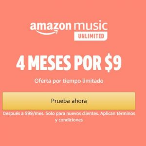 Prime Day Amazon 2020: 4 Meses Amazon Music Unlimited por $9 pesos