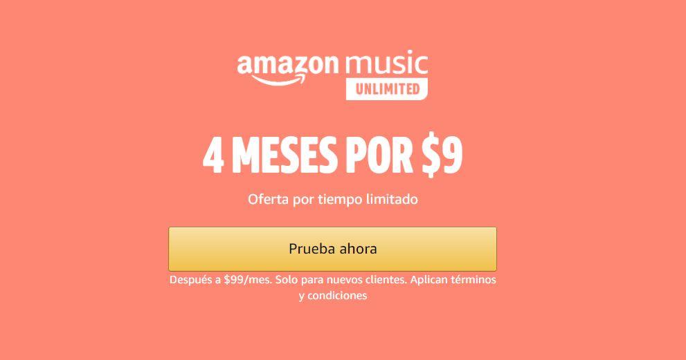Prime Day Amazon 2020: 4 Meses Amazon Music Unlimited por $9 pesos