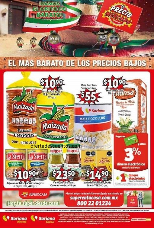 Soriana Mercado: Folleto de Ofertas Fiestas Patrias del 4 al 17 de Septiembre 2020