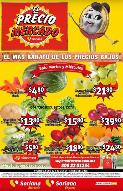 Soriana Mercado: Ofertas en Frutas y Verduras 22 y 23 de Septiembre 2020