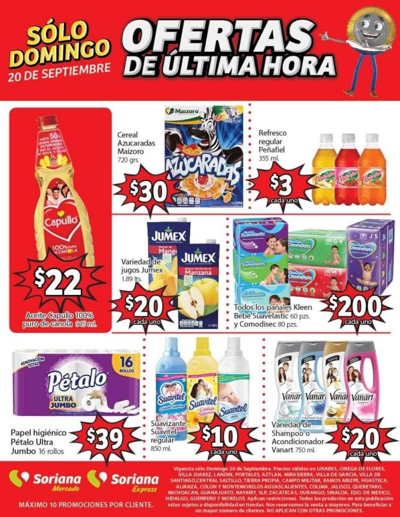 Soriana Mercado: Ofertas de Última Hora 20 de Septiembre 2020