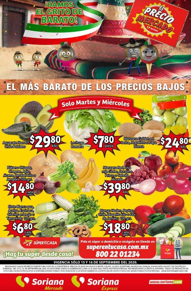 Soriana Mercado: Ofertas Frutas y Verduras 15 y 16 de Septiembre 2020