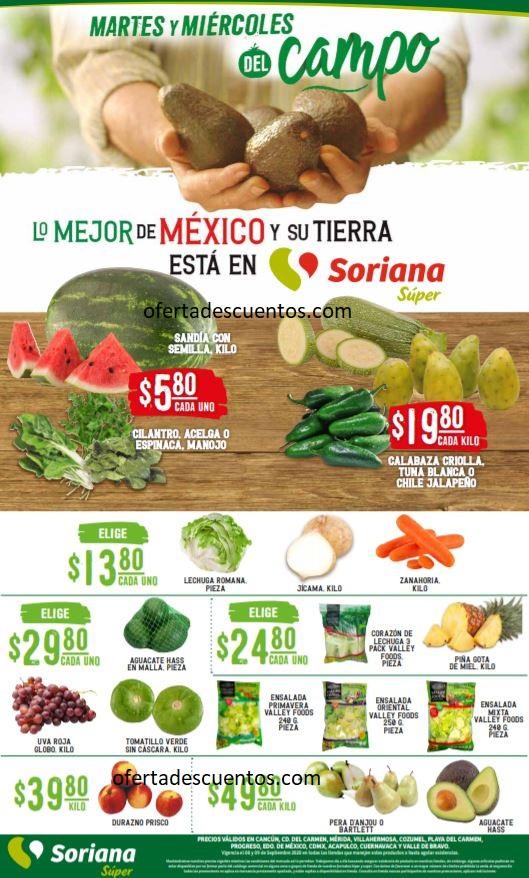 Soriana Super: Ofertas en Frutas y Verduras 8 y 9 de Septiembre 2020