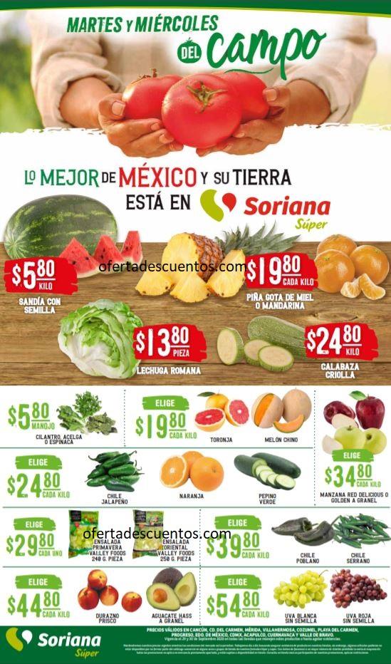 Soriana Super: Ofertas Frutas y Verduras 29 y 30 de Septiembre 2020