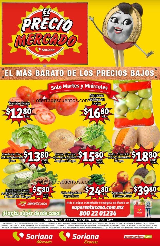 Soriana Mercado: Ofertas Frutas y Verduras 29 y 30 de Septiembre 2020