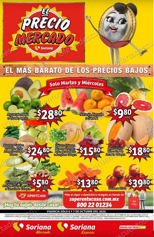 Soriana Mercado: Ofertas en Frutas y Verduras 6 y 7 de Octubre 2020