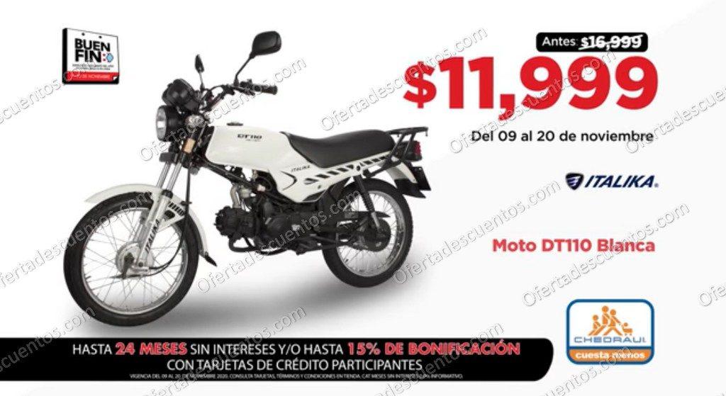 Buen Fin 2020 Chedraui: Moto Itálika DT110 Blanca a $11,999 y más