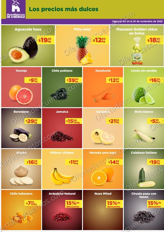 Chedraui: Ofertas en Frutas y Verduras 24 y 25 de Noviembre 2020