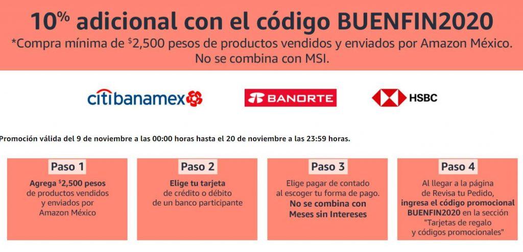 Cupón Buen Fin 2020 Amazon: 10% de descuento adicional con tarjeta de Débito o Crédito
