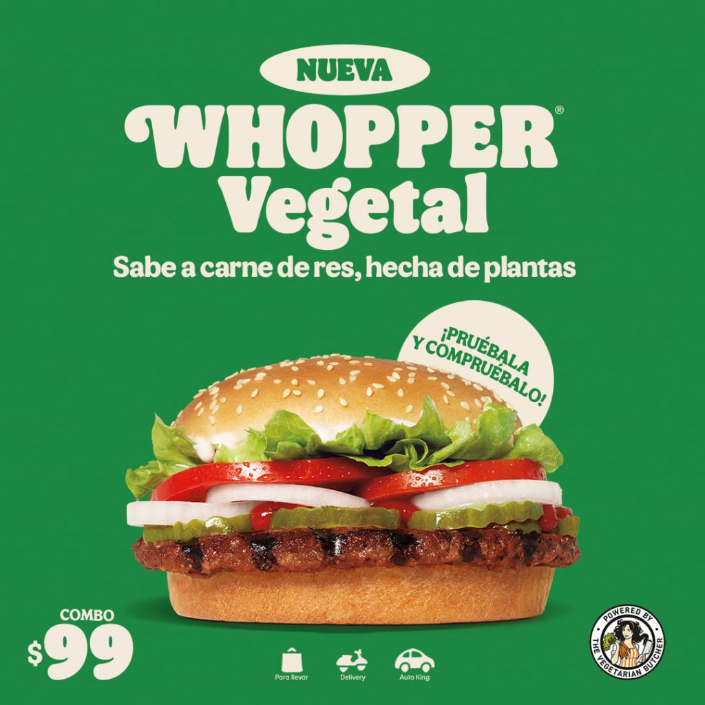 Nueva Whopper Vegetal de Burger King a $99 el Combo